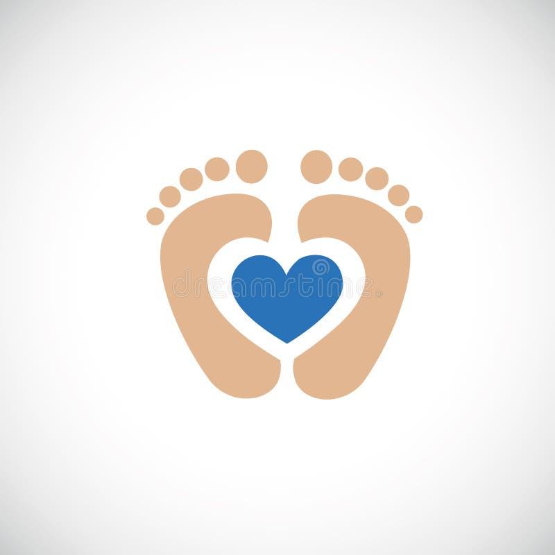 След ноги ног младенца с голубым сердцем бесплатная иллюстрация