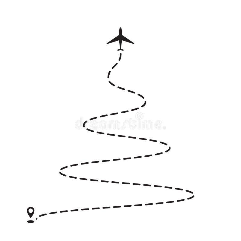 След рождественской елки самолета, который нужно указать, линия путь или авиалинии иллюстрация вектора