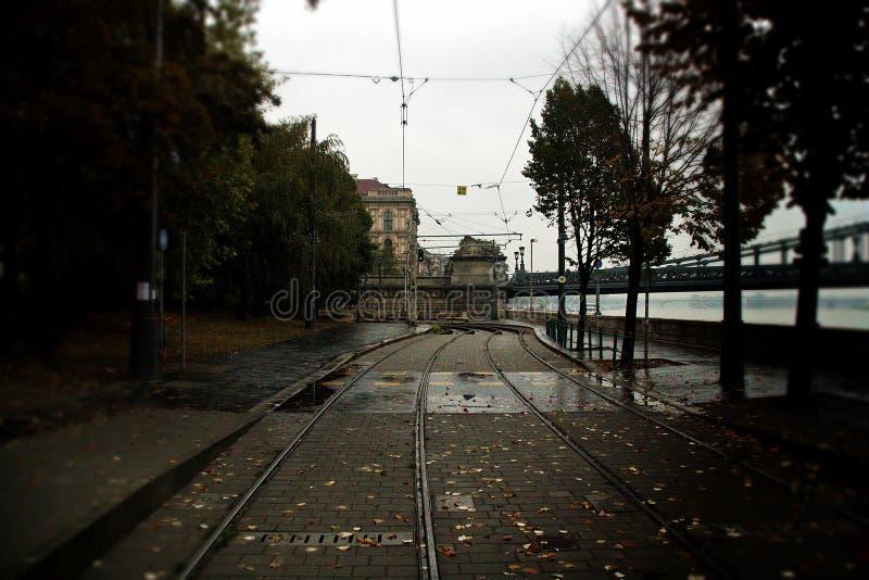 След трамвая в Будапеште Венгрии стоковое изображение
