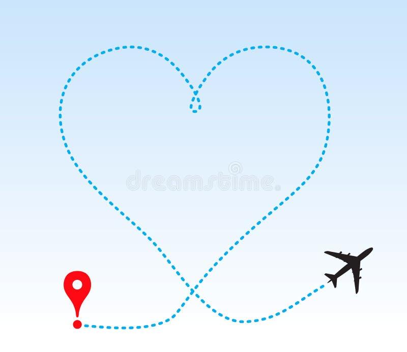 След формы сердца от самолета бесплатная иллюстрация