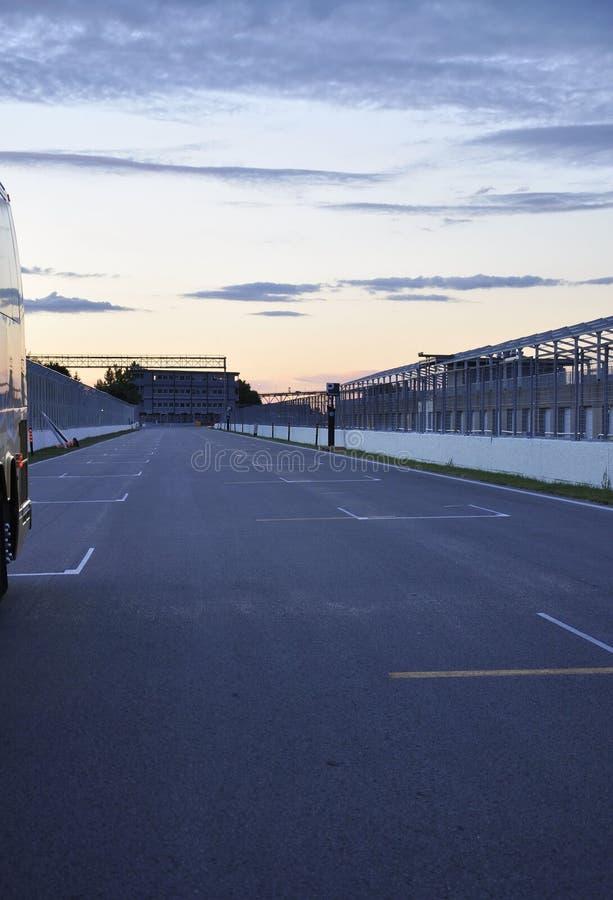 След Gilles Villeneuve острова Нотр-Дам на зоре от Монреаля в Канаде стоковая фотография