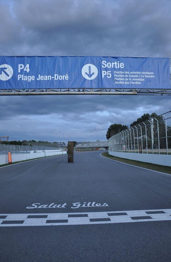 След Gilles Villeneuve острова Нотр-Дам на зоре от Монреаля в Канаде стоковое изображение