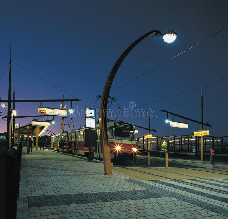 след streetcar prague стоковое фото rf