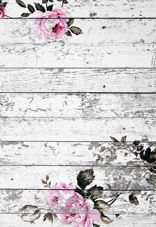 Слезли деревянная текстура с затрапезными шикарными винтажными розами стоковые изображения