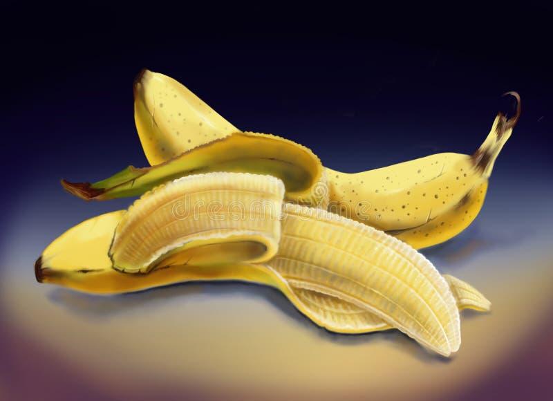 Слезли желтый банан на таблице стоковое фото