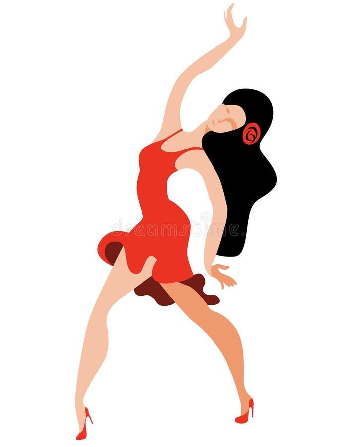 Слендерская девушка выразительно танцует латинский танец иллюстрация штока