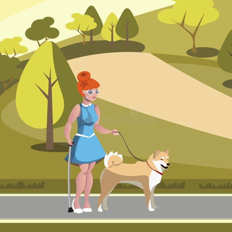 Картинка девочка гуляет с собакой для детей