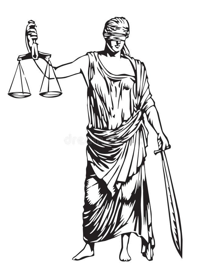 слепое правосудие иллюстрация вектора
