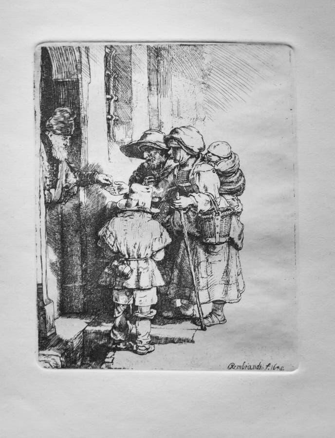 Слепые игрок и семья колёсной лиры получая милостыни, Рембрандт ван Рейн, 1648 стоковая фотография