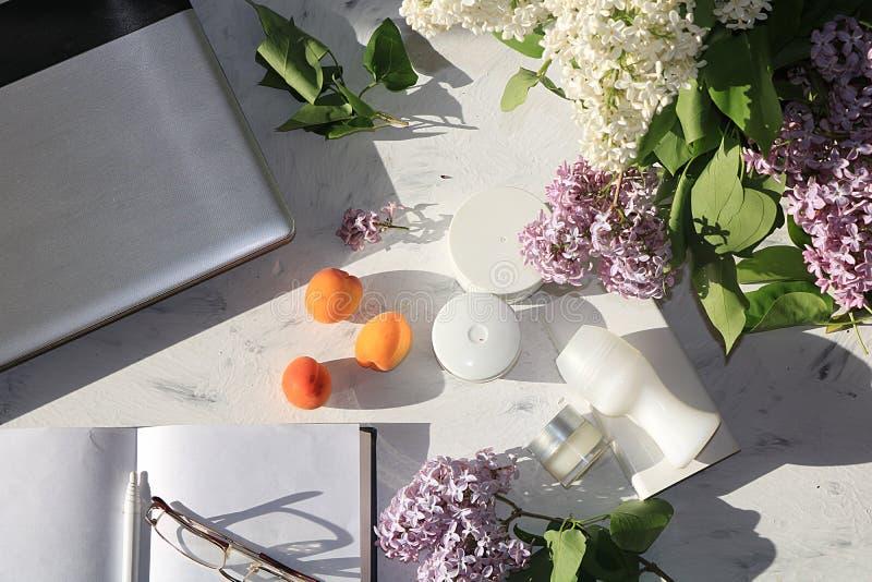 Сливк для заботы кожи, дезодорант рядом с компьютером на солнечной таблице, тетрадь для работы и стекла и пестротканые ветви  стоковое фото rf