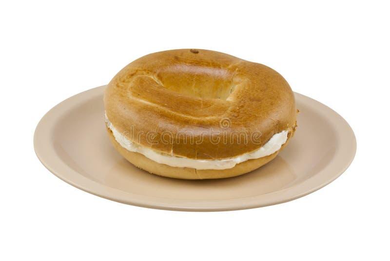 сливк сыра bagel стоковая фотография