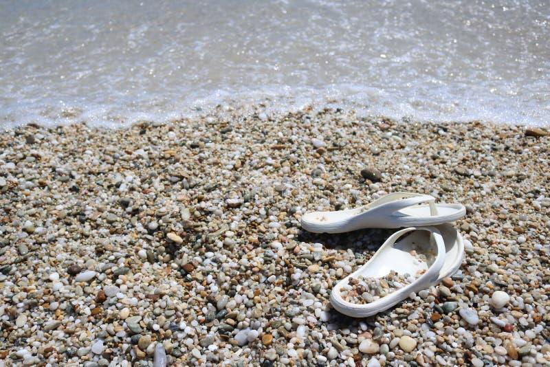 Слипперы на пляже стоковое изображение