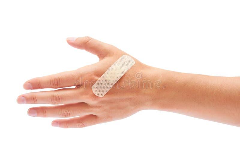 Слипчивый гипсолит в руке изолированной на белой предпосылке стоковая фотография