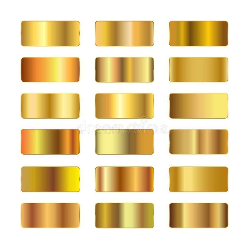 Слитки золота, комплекта градиентов золота, золотых квадратов собрания, текстур группы, комплекта предпосылки золота иллюстрация вектора