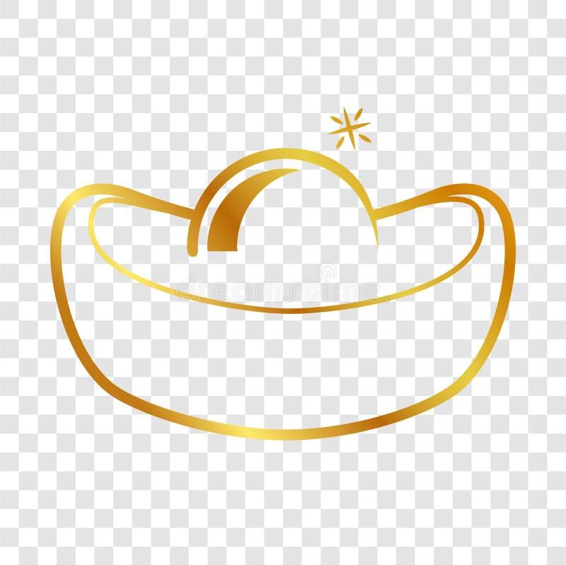 Слиток простого значка значка золотой китайский на прозрачной предпосылке влияния иллюстрация штока