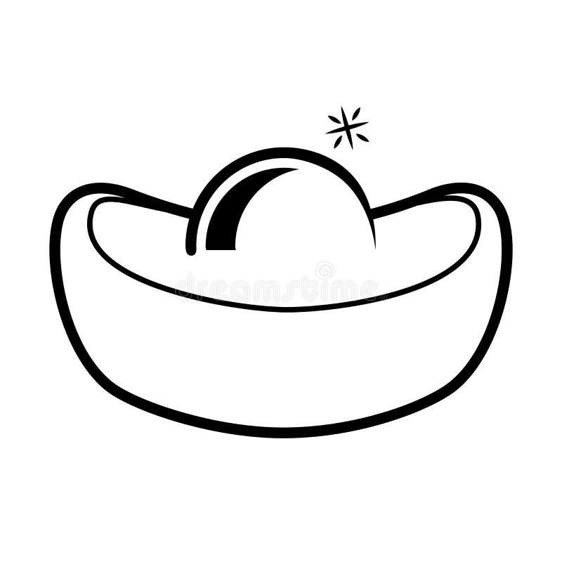 Слиток простого значка значка китайский иллюстрация вектора