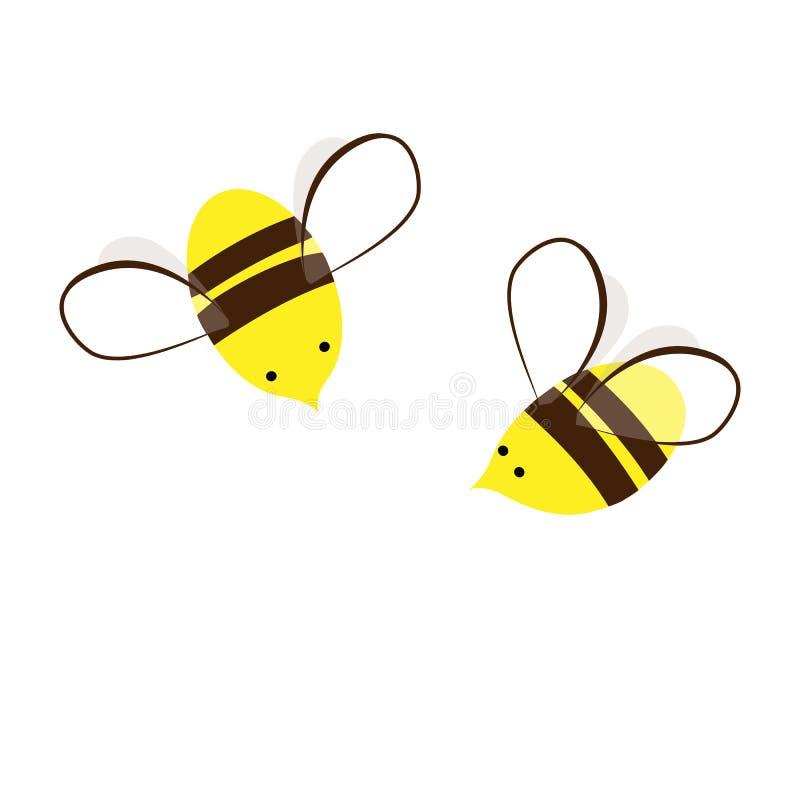 Слишком сладкие и занятые пчелы меда E Милые пары насекомых Элемент дизайна для ярлыков, печатей, или иллюстрация вектора