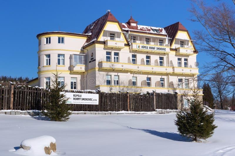 СЛОВАКИЯ, РОГОВОЕ SMOKOVEC - 6-ОЕ ЯНВАРЯ 2015: Одна из гостиниц в роговом Smokovec стоковое фото