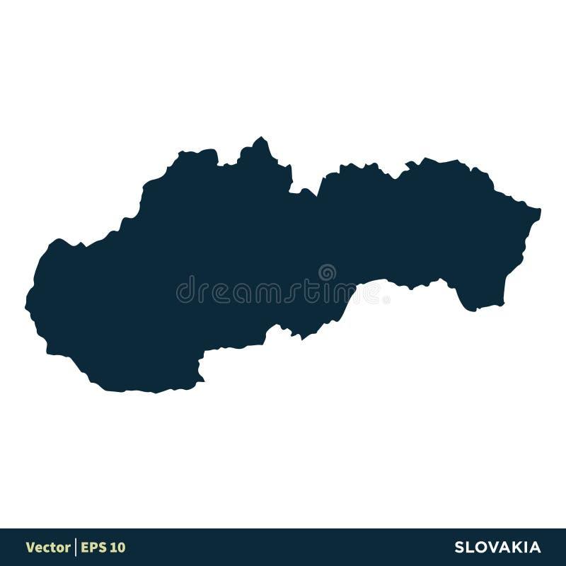 Словакия - страны Европы составляют карту дизайн иллюстрации шаблона значка вектора r иллюстрация вектора