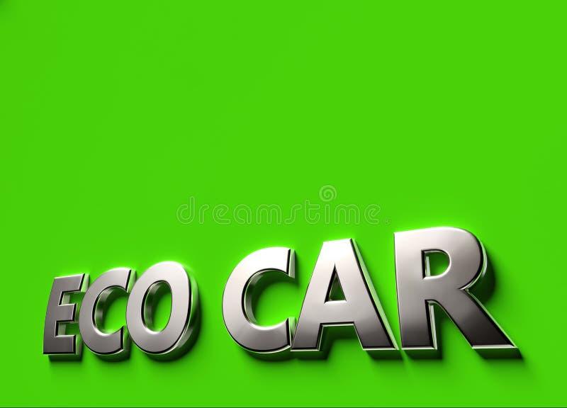 Слова автомобиля Eco как концепция знака 3D или логотипа помещенная на зеленой поверхности с космосом экземпляра над ним Концепци иллюстрация штока