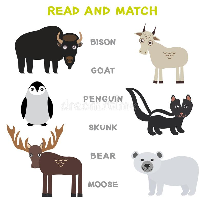Слова детей уча прочитанное рабочее лист игры и спичку Игра смешного пингвина лосей полярного медведя скунса козы бизона животных иллюстрация вектора