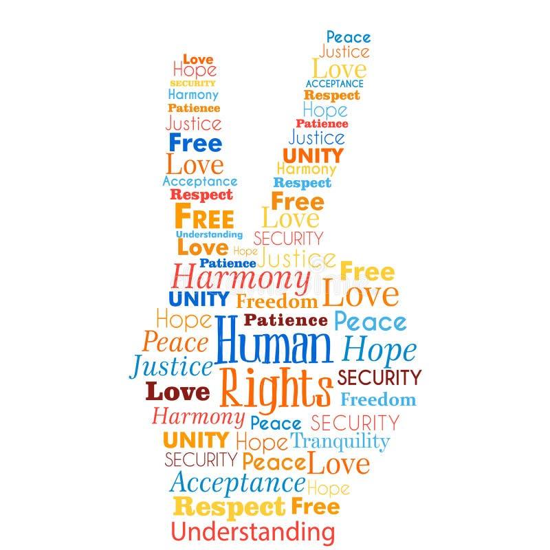 Слова концепции прав человека в форме руки бесплатная иллюстрация