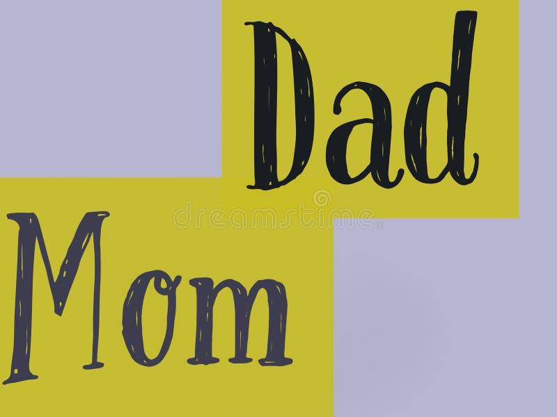 Слова мама и папа семьи в красивой предпосылке цвета лимона иллюстрация вектора