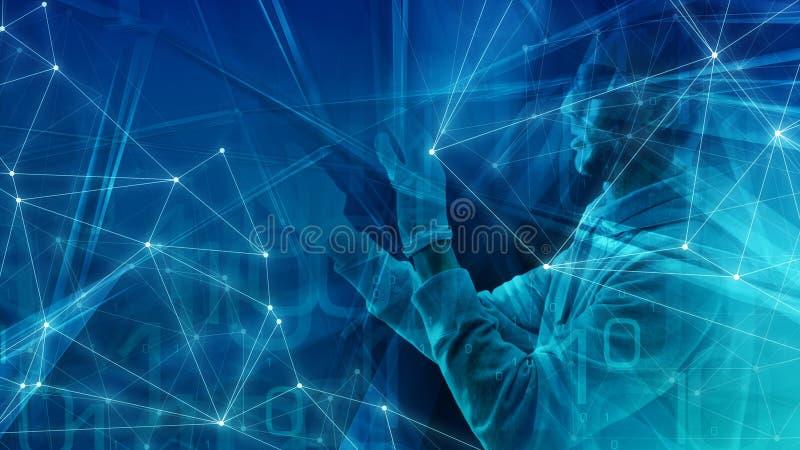 Слово алгоритма компьютера, абстрактная концепция, случайная прозрачная концепция представления искусства треугольников иллюстрация вектора