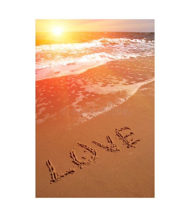 слово влюбленности пляжа стоковое фото rf