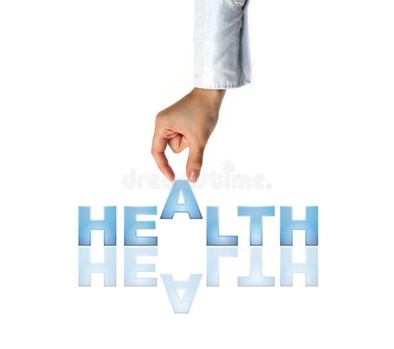 слово здоровья руки стоковое изображение rf