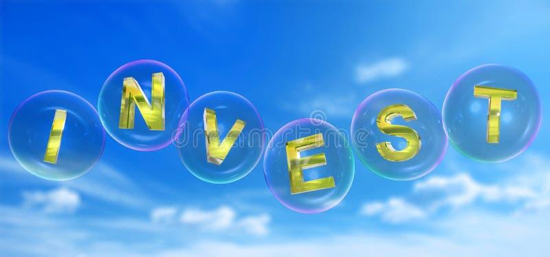 Слово инвестировать в пузыре иллюстрация штока