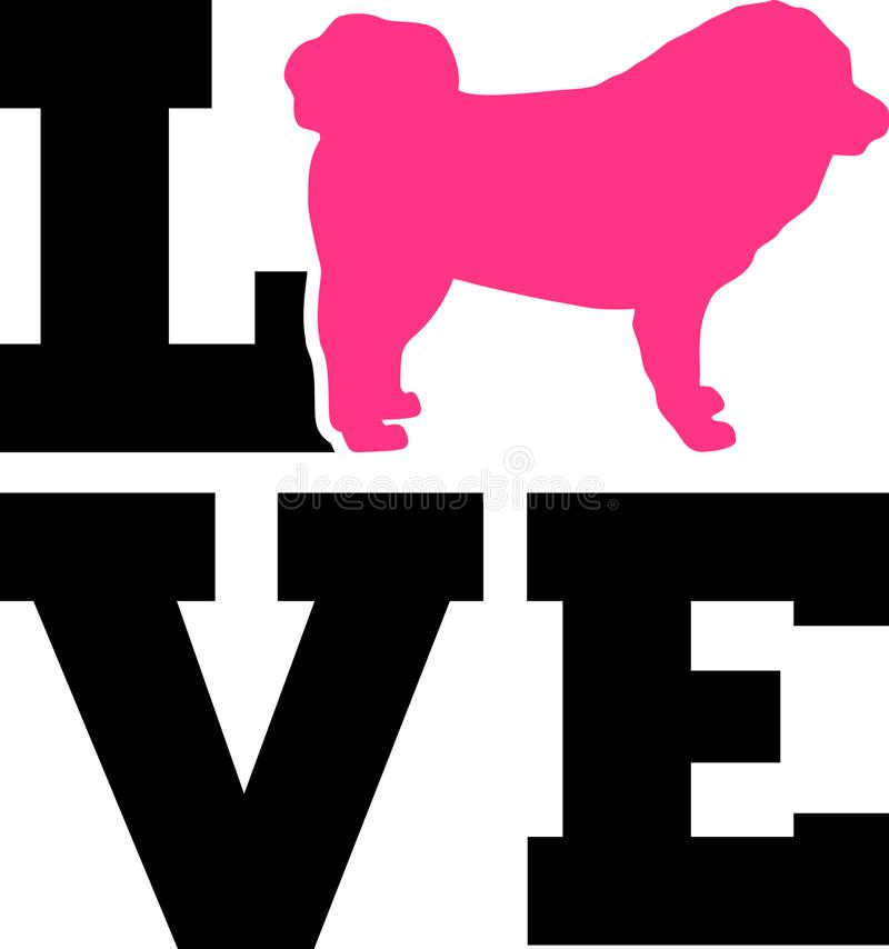 Слово любов тибетского Mastiff с силуэтом иллюстрация вектора