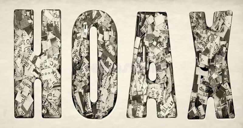 Слово МИСТИФИКАЦИЯ составило серий газеты отрезка вверх стоковое изображение rf