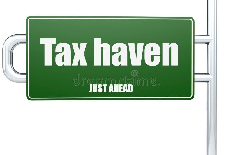 Слово налогового рая на зеленом дорожном знаке иллюстрация штока