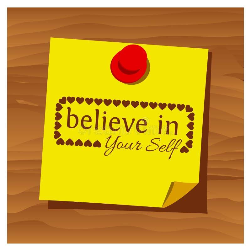 Слово напоминания бумажное верит в вашем векторе собственной личности также вектор иллюстрации притяжки corel иллюстрация вектора