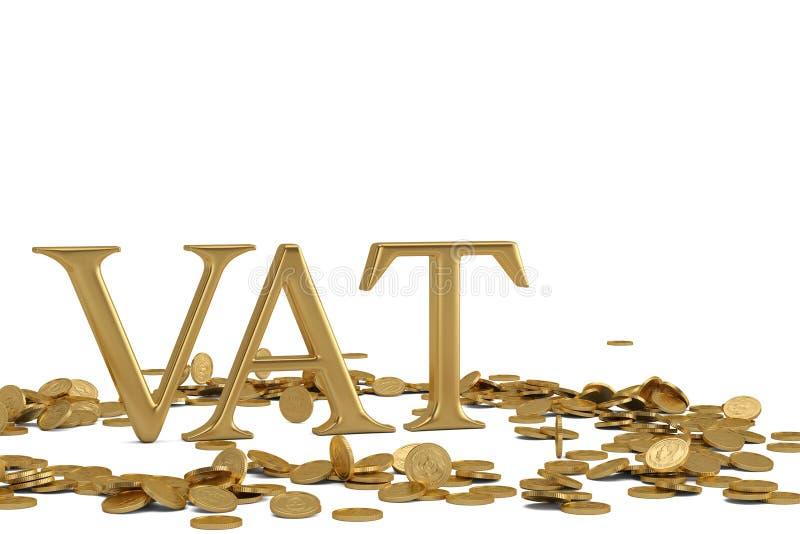 Слово НДС и золотые монетки изолированные на белом illustra предпосылки 3D иллюстрация штока