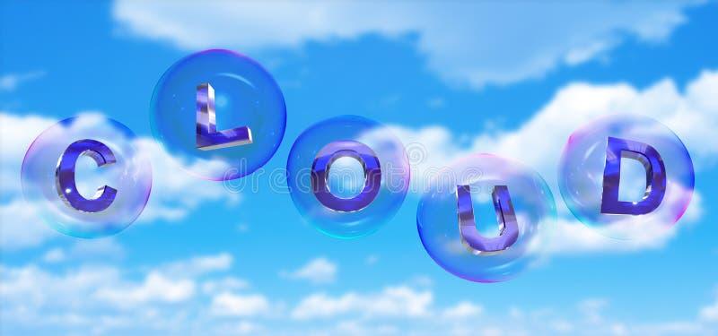 Слово облака в пузыре иллюстрация штока