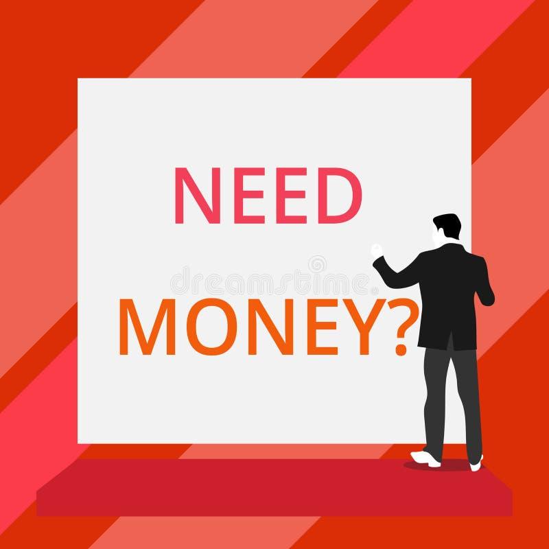 Слово писать вопрос о денег потребности текста Концепция дела для спрашивать кто-то если ему, то наличные деньги или bouns получа иллюстрация штока