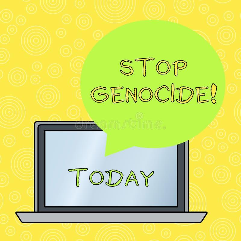 Слово писать геноцид стопа текста Концепция дела для для установки конца на убийства и зверства показывать круг иллюстрация вектора