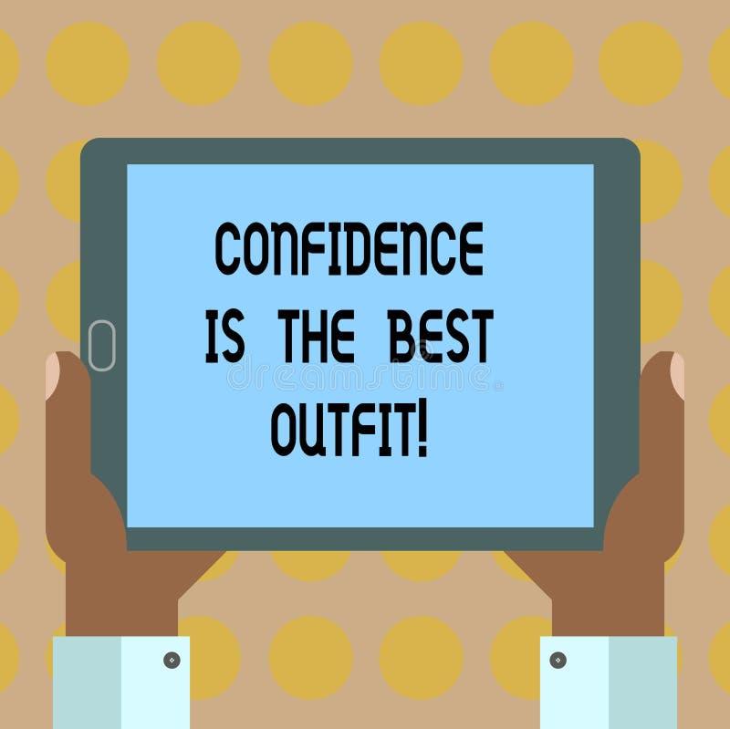 Слово писать доверие текста самое лучшее обмундирование Концепция дела для самоуважения выглядит лучшей в вас чем одежды Hu иллюстрация штока