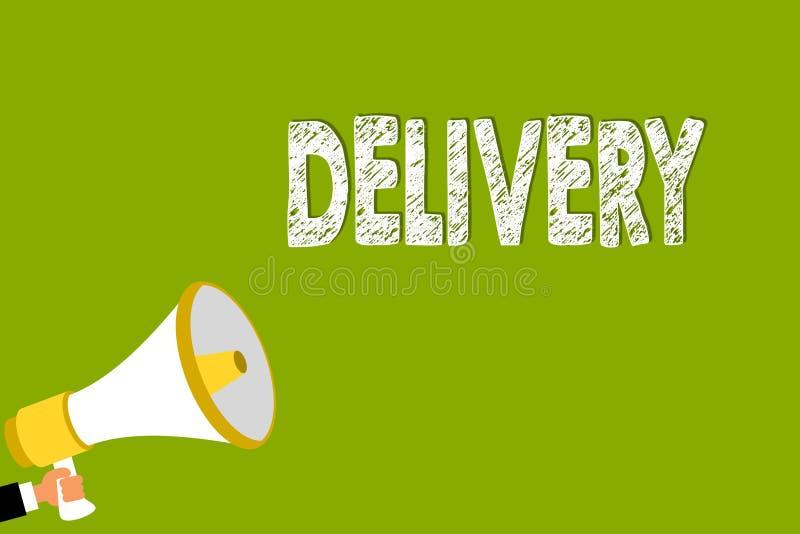 Слово писать доставку текста Концепция дела для действия поставлять пакеты или товары писем давая мегафон удерживания человека ро иллюстрация штока