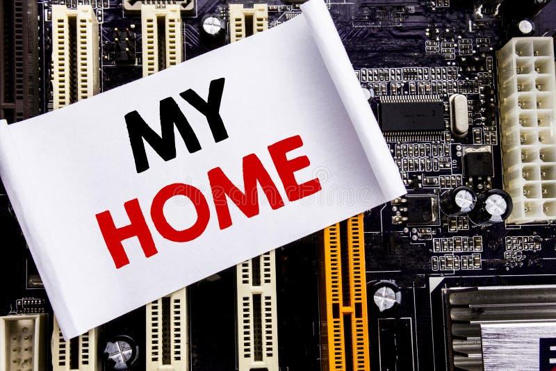Слово, писать мой дом Концепция дела для влюбленности имущества дома написанной на липком примечании, предпосылке главного правле стоковая фотография