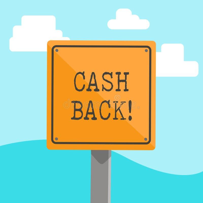 Слово писать наличные деньги текста назад Концепция дела для стимула предложила покупателей whereby получите деньги после покупат иллюстрация вектора