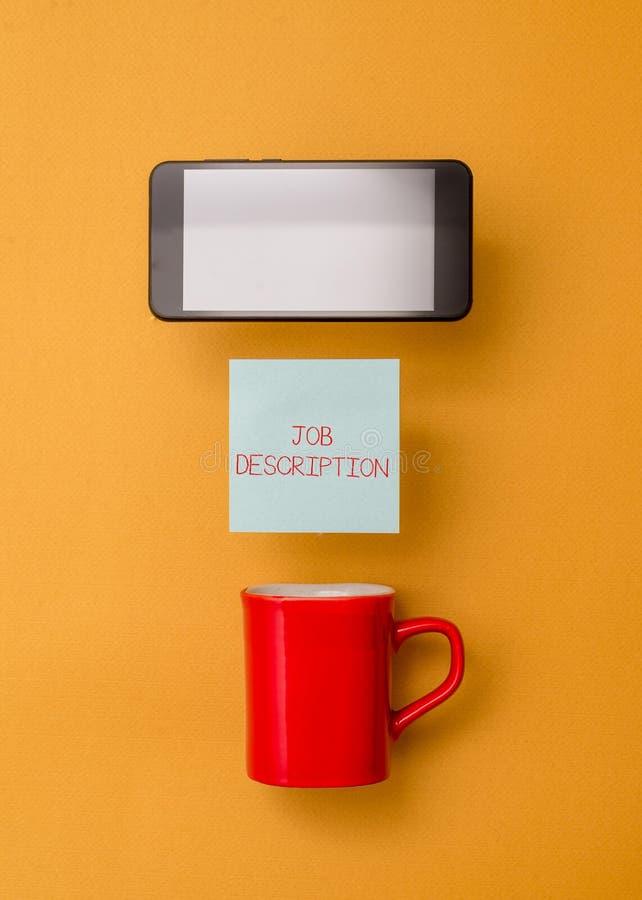 Слово писать описание работы текста Концепция дела для официального счета работника s кофейная чашка ответственностей стоковое изображение