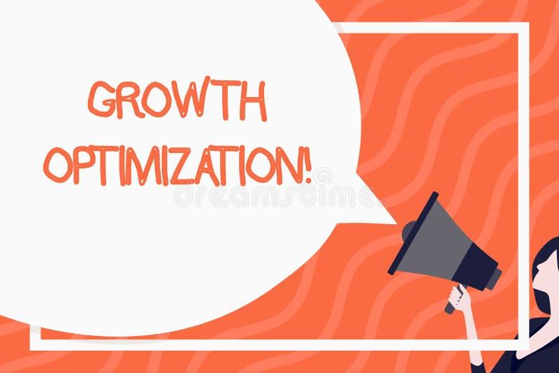 Слово писать оптимизирование роста текста Концепция дела для обнаружения альтернативы с самое рентабельное огромным иллюстрация штока