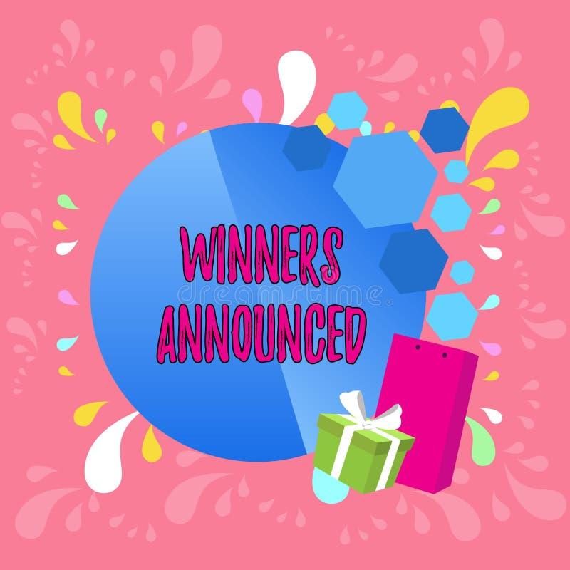 Слово писать победителей текста объявило Концепция дела для объявлять кто выиграло состязание или любое приветствие конкуренции иллюстрация штока