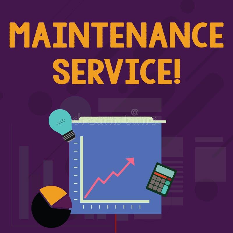 Слово писать ремонтное службу текста Концепция дела для Keep обслуживание продукта в хорошем эксплуатационном режиме иллюстрация вектора