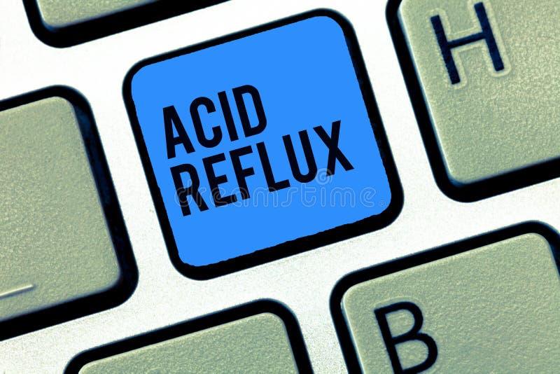 Слово писать рефлюкс кислоты текста Концепция дела для условия где кисловочные резервные копии от живота к esophagus стоковое изображение