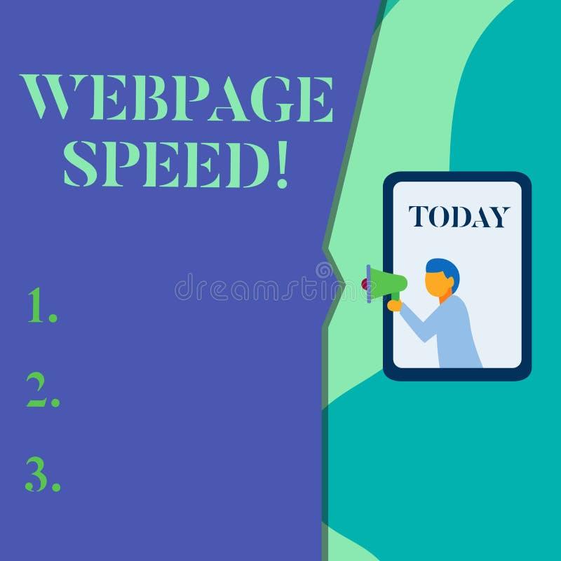 Слово писать скорость Веб-страницы текста Концепция дела для как быстро потребители могут увидеть и взаимодействовать с содержани иллюстрация вектора