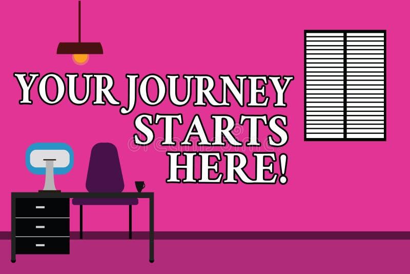 Слово писать тексту ваши начала путешествием здесь Концепция дела для мотивации для начала работы воодушевленности дела иллюстрация вектора